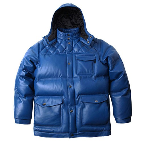 [Left] Lambskin Leather Goose Down Quilted Hood Jacket (Blue) 레프트 램스킨 레더 구스다운 퀼티드 후드 자켓