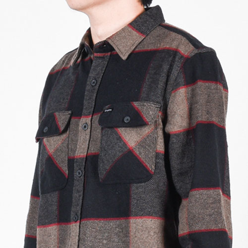 [Brixton] Bowery L/S Flannel (Heather Grey/Charcoal) 브릭스톤 보웨리 플란넬 셔츠