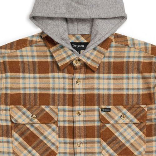[Brixton] Bowery Hood L/S Flannel (Copper/Natural) 브릭스톤 보웨리 후드 플란넬