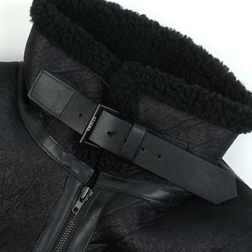 [STIGMA] STGM Oversized Mouton Long Jacket (Black) 스티그마 오버사이즈 무통 롱자켓