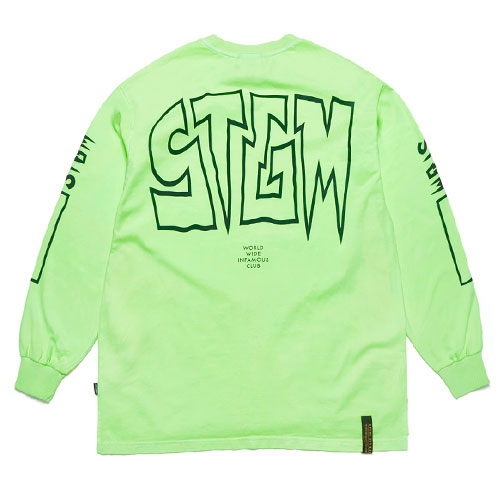 [STIGMA] Infamous Pigment Oversized Long Sleeves T-Shirts (Neon Green) 스티그마 인페이머스 피그먼트 오버사이즈 긴팔