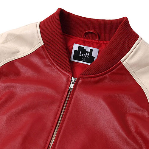 [Left] Lambskin Leather Stadium Jacket (Red/Cream) 레프트 램스킨 레더 스타디움 자켓