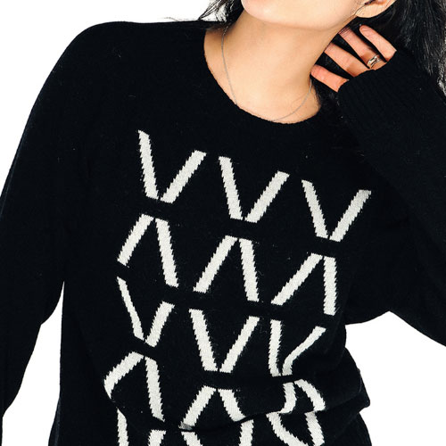 [Left] Wool Knit Crewneck 'HIVE' (Black) 레프트 울 니트 크루넥