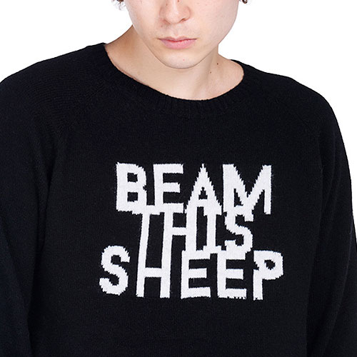 [Left] Wool Knit Crewneck 'BEAM' (Black) 레프트 울 니트 크루넥
