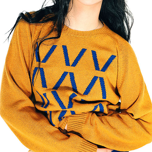 [Left] Wool Knit Crewneck 'HIVE' (Mustard) 레프트 울 니트 크루넥