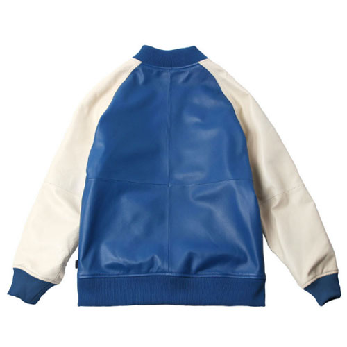 [Left] Lambskin Leather Stadium Jacket (Blue/Cream) 레프트 램스킨 레더 스타디움 자켓