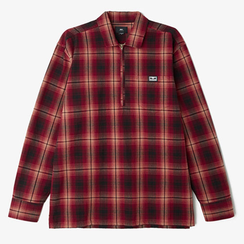 [OBEY] Loose Moves Woven Shirt (Burgundy Multi) 오베이 루즈무브 우븐 긴팔 셔츠