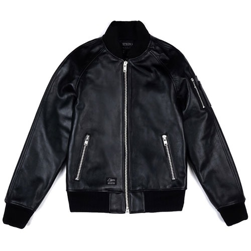 [STIGMA] Leather MA-1 Jacket (Black) 스티그마 레더 자켓